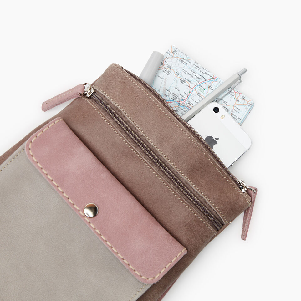 Roots-Leather New Arrivals-Liberty Pouch - Colour Block-Woodrose-D