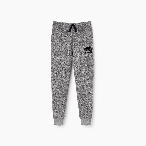 Roots-Kids Sweats-Boys Sweater Fleece Cargo Pant-Salt & Pepper-A