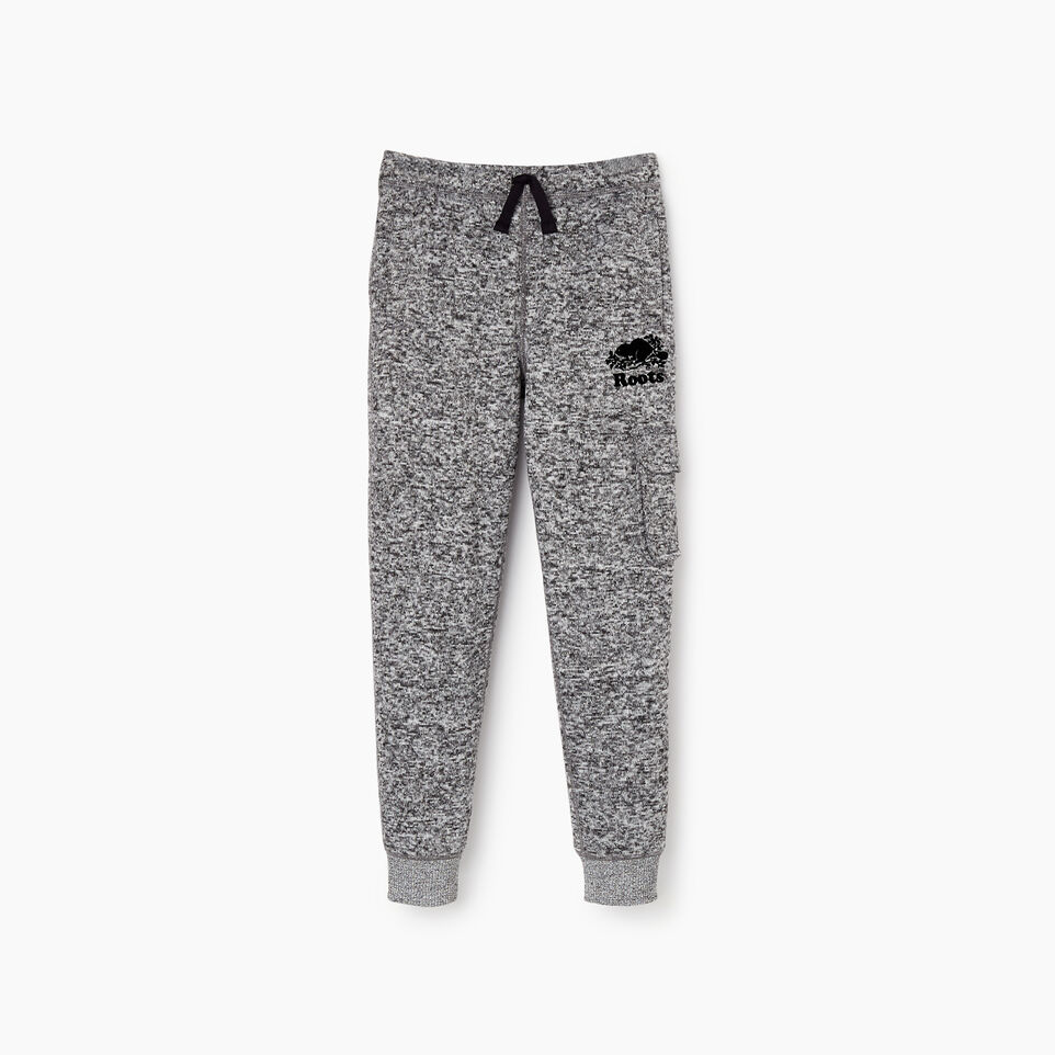 Roots-Kids Bottoms-Boys Sweater Fleece Cargo Pant-Salt & Pepper-A