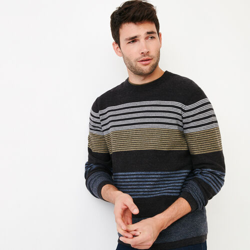 Roots-Men Sweaters   Cardigans-Canoe Lake Stripe Crew Sweater-Indigo-A 6adcb774a