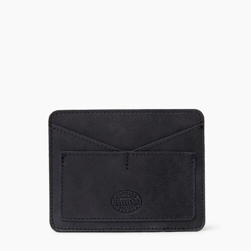 Roots-Leather Tech & Travel-Passport Card Holder Tribe-Jet Black-A