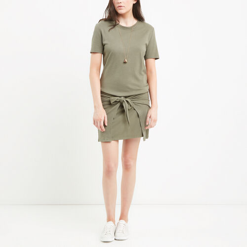 Roots-Women Dresses-French Terry Tie Dress-Dusty Olive-A