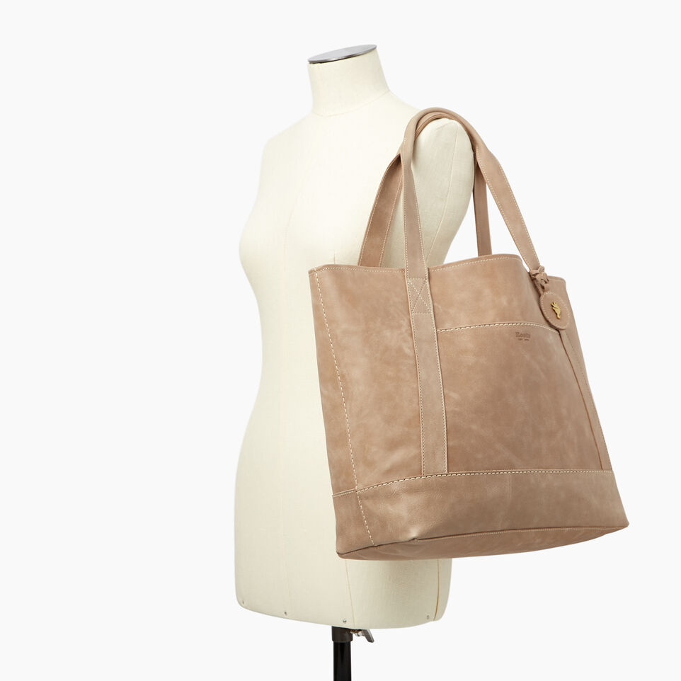 Roots-Leather  Handcrafted By Us Handbags-Muskoka Tote-Sand-B