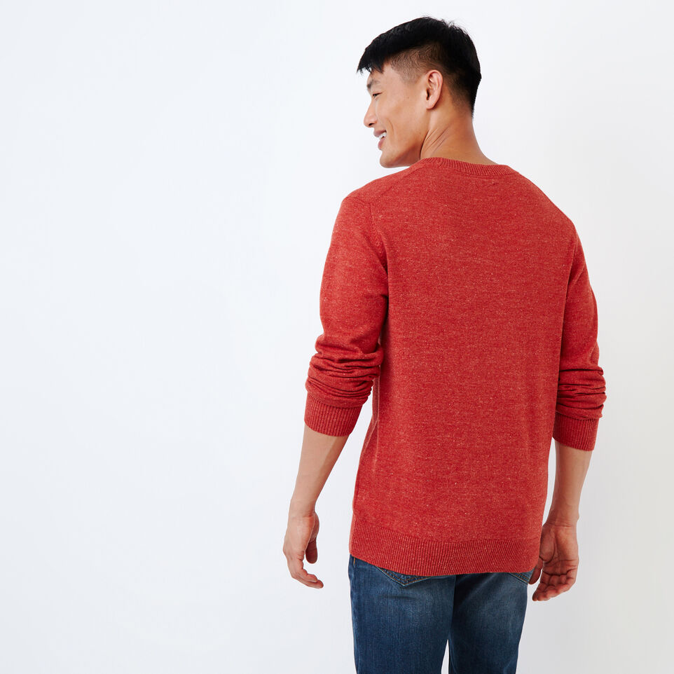 Roots-Men Our Favourite New Arrivals-All Seasons Crew Sweater-Tent Red Mix-D