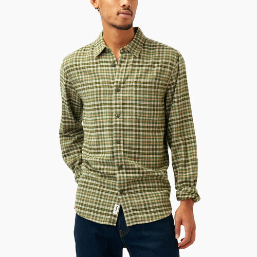 Roots-Winter Sale Tops-Huron Flannel Shirt-Dk Flaxseed Mix-A