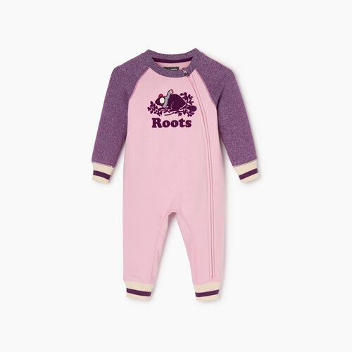 Roots-Kids Baby Girl-Baby Buddy Cozy Fleece Romper-Grape Royale Pepper-A
