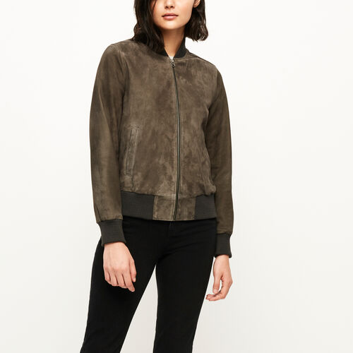 Roots-Leather Leather Jackets-Commander Jacket Suede-Grey-A