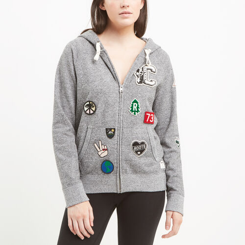 Roots-Sale Sweats-Camp Patches Full Zip Hoody-Salt & Pepper-A