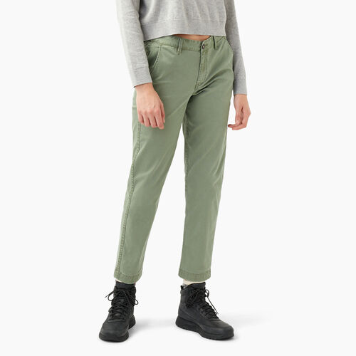 Roots-Women Bottoms-Cornerbrook Chino Pant-Dusty Olive-A