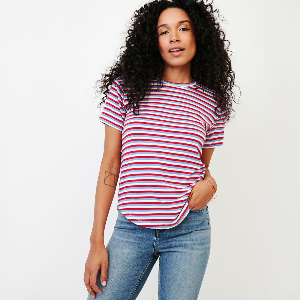 Roots-New For January Women-Aster Stripe Top-Racing Red-A