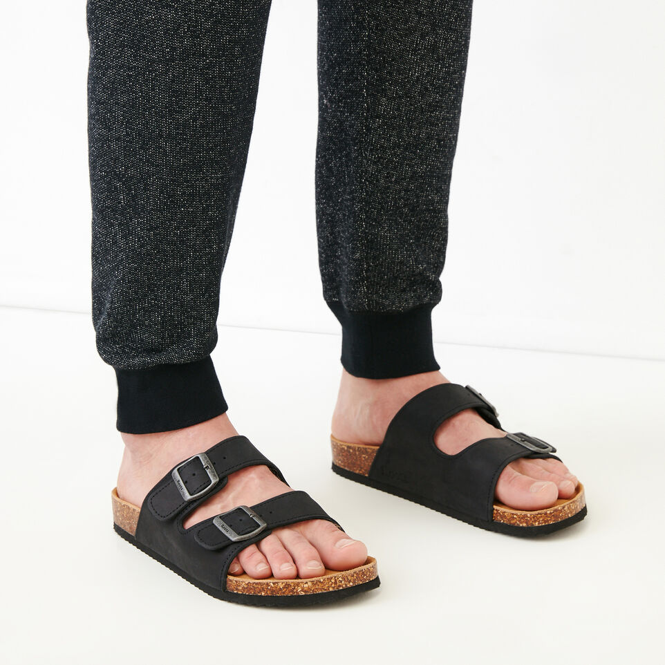 Roots-Footwear Our Favourite New Arrivals-Mens Natural 2 Strap Sandal-Black-B