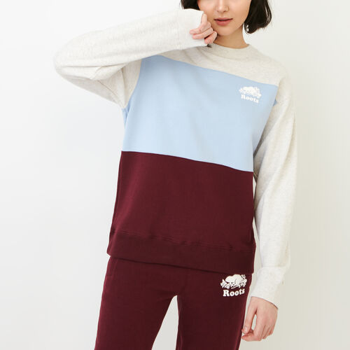Roots-Clearance Women-Colourblocked Crew Sweatshirt-Northern Red-A