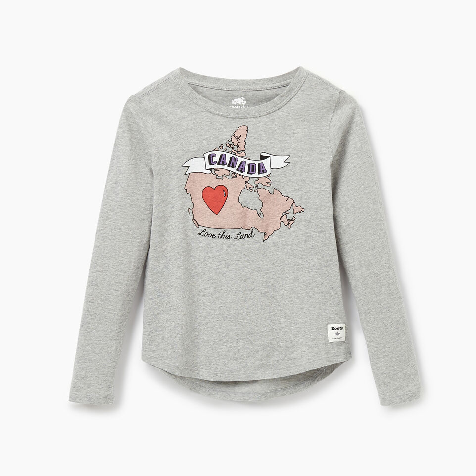 Roots-Sale Kids-Girls Explorer T-shirt-Grey Mix-A