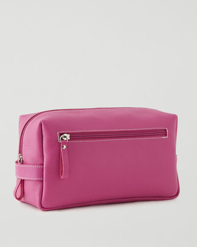Roots-Leather Small Leather Goods-Extra Large Utility Pouch Cervino-Pink Orchid-A