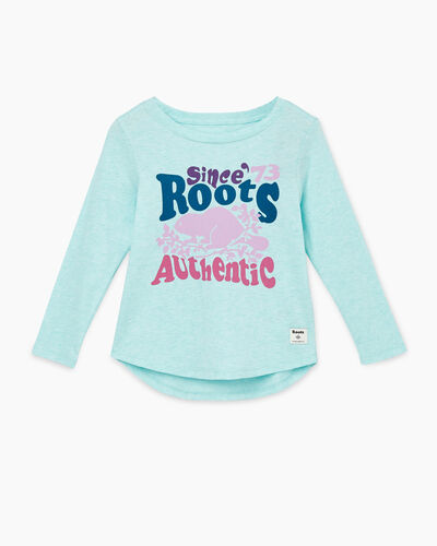 Roots-Kids Toddler Girls-Toddler Roots Authentic T-shirt-Bleached Aqua Mix-A