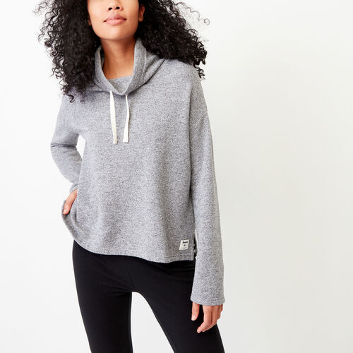 Roots-Clearance Women-Cozy Fleece Mock Top-Salt & Pepper-A