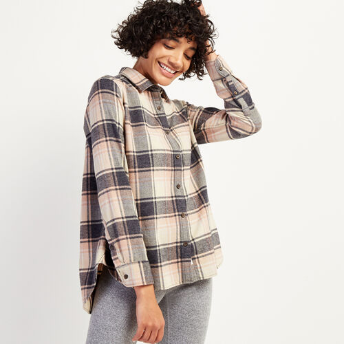 Roots-Women Shirts-Thompson Relaxed Shirt-Rose Smoke-A
