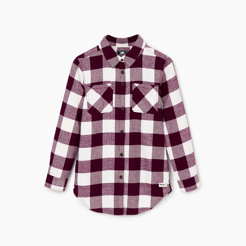 Roots-Kids Tops-Girls Park Plaid Shirt-Pickled Beet-A
