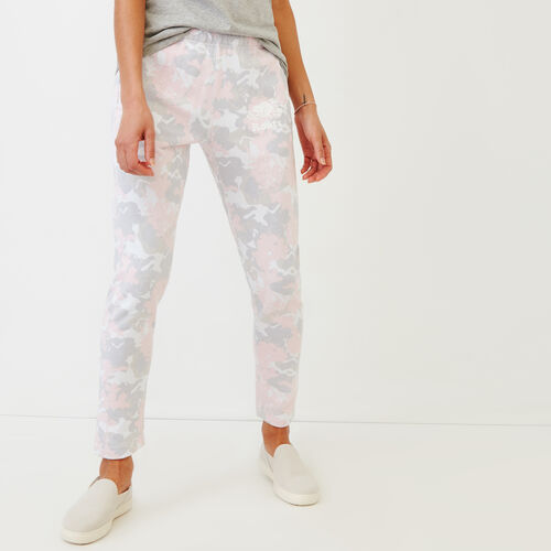 Roots-Women Sweatpants-Floral Easy Ankle Sweatpant-Washed Pink Camo-A