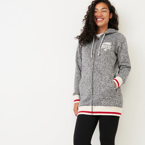 Roots-Women Our Favourite New Arrivals-Cabin Sweater Fleece Full Zip Hoody-Salt & Pepper-A