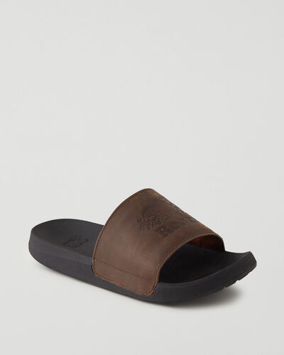 Roots-Sale Footwear-Mens Long Point Leather Slide-Barley-A