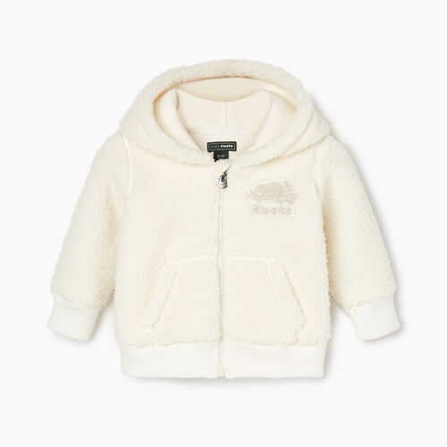 Roots-Kids Baby Girl-Baby Sherpa Fleece Full Zip Hoody-Natural-A