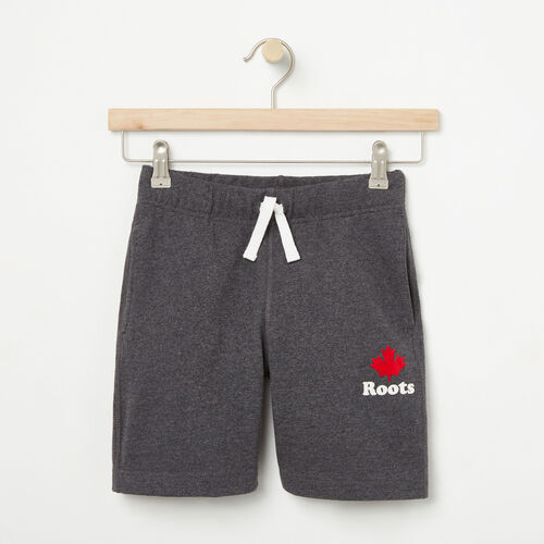 Roots-Kids Bottoms-Boys Maple Jersey Pull-on Short-Charcoal Mix-A