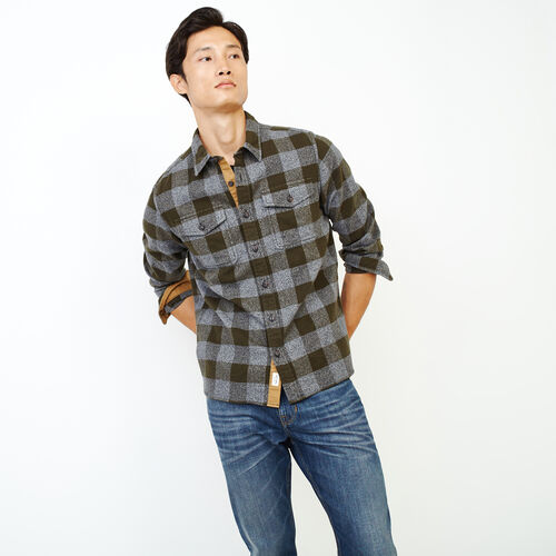 Roots-Men Our Favourite New Arrivals-Park Plaid Shirt-Dark Olive Green-A