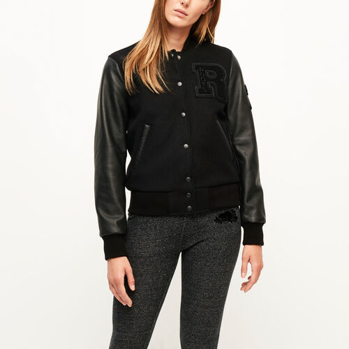Roots-Women Award Jackets-Vintage Award Jacket-Black/black-A