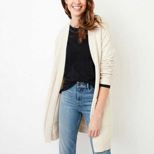 Roots-Women Sweaters & Cardigans-Ekwan Open Cardigan-Light Oatmeal Mix-A