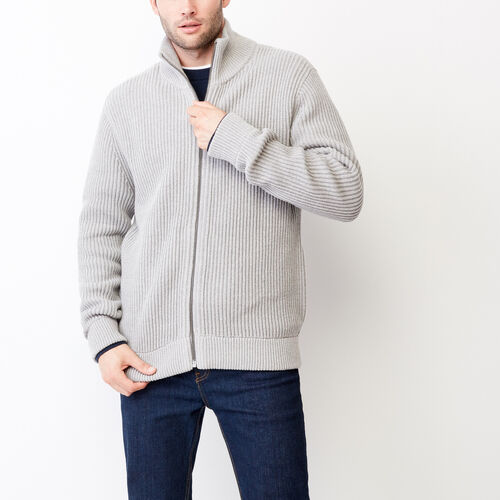 Roots-Men Categories-Beaufort Sweater Jacket-Sharkskin Mix-A