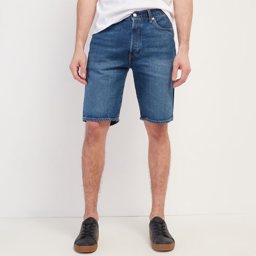 Roots-Men New Arrivals-Levi's 501 Hemmed Short-Med Denim Blue-A
