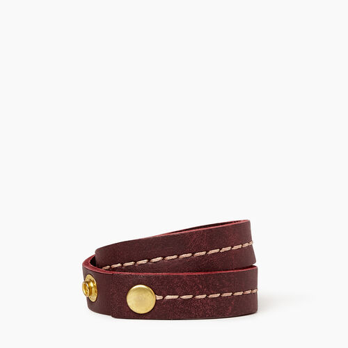 Roots-Leather Collections-Double Leather Bracelet-Crimson-A
