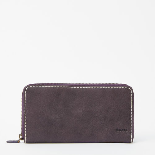 Roots-Leather Wallets-Zip Around Clutch Tribe-Wineberry-A