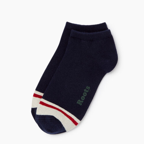 Roots-Men Accessories-Mens Cotton Cabin Ped Sock 2 pack-Navy-A