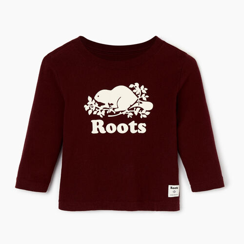 Roots-Kids Our Favourite New Arrivals-Baby Original Cooper Beaver T-shirt-Crimson-