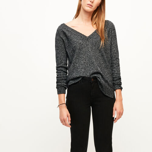 Roots-Women Sweaters & Cardigans-Snowy Fox V Neck Sweater-Black Fox-A