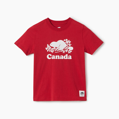 Roots-Kids New Arrivals-Boys Canada T-shirt-Sage Red-A