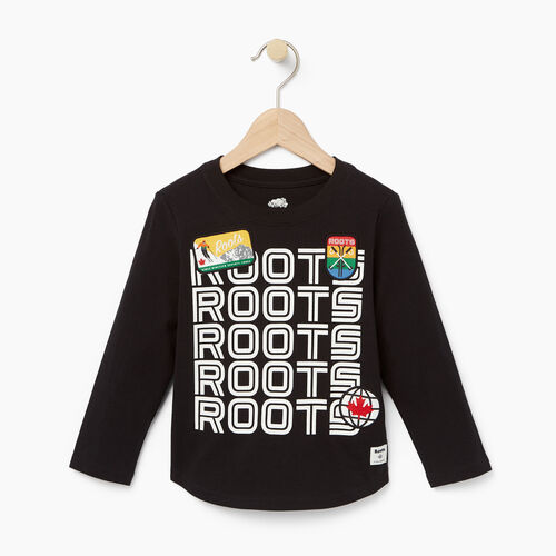 Roots-Kids T-shirts-Toddler Ski Patch T-shirt-Black-A