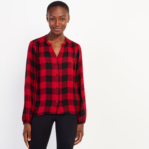 Roots-New For October Plaids-Park Plaid Boho Top-Cabin Red-A
