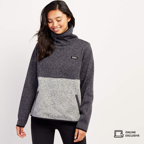 Roots-New For November Online Exclusives-Blocked Sweater Fleece Popover-Black Pepper-A