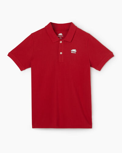 Roots-Kids Tops-Boys Heritage Pique Polo-Sage Red-A
