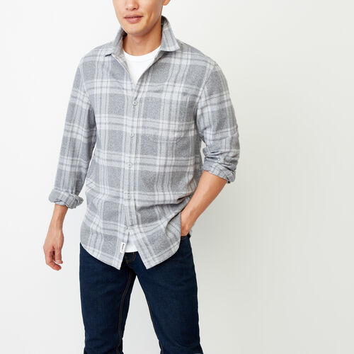 Roots-Clearance Men-Northlands Flannel Shirt-Grey Mix-A