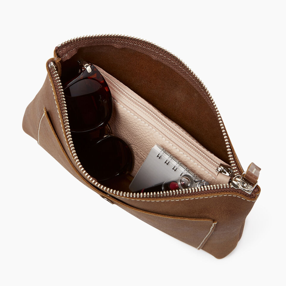 Roots-Leather  Handcrafted By Us Collections-Carrier Pouch-Natural-D