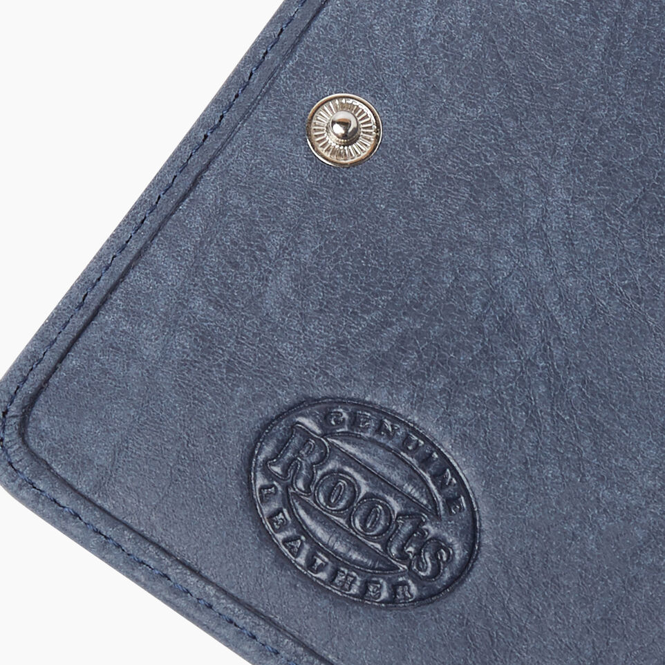 Roots-Leather New Arrivals-Small Zip Wallet Tribe-Navy-F