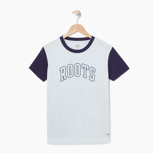 Roots-Women Graphic T-shirts-Womens Varsity Chic T-shirt-Baby Blue-A