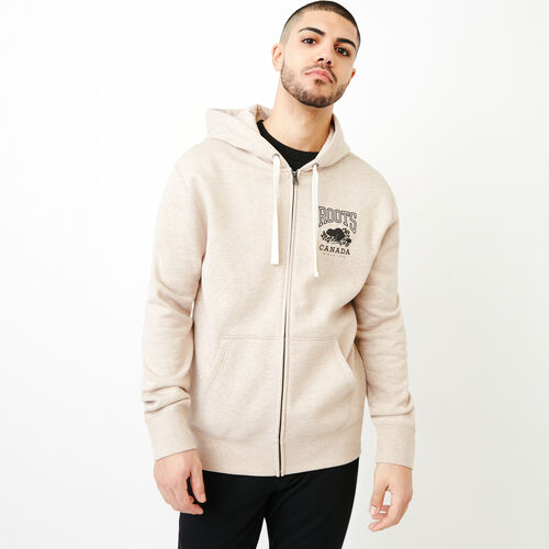 Roots-New For July Men-Classic Full Zip Hoody-True Khaki Mix-A