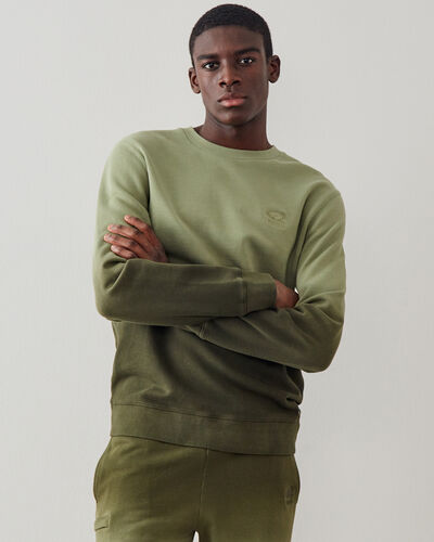 Roots-Men New Arrivals-Dip Dye Crew Sweatshirt-Washed Olive-A