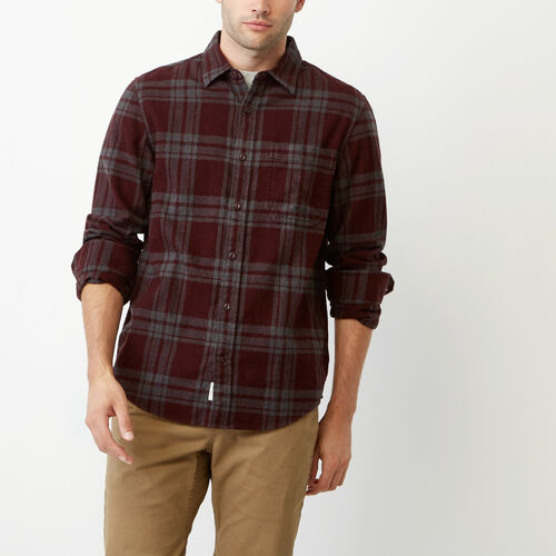 Roots-Men Our Favourite New Arrivals-Northlands Flannel Shirt-Crimson-A