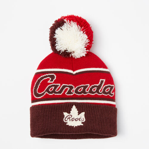 Roots-Kids Accessories-Toddler Canada Heritage Pom Pom Toque-Maple Red-A